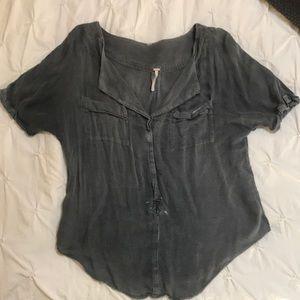 Free people washed blouse - vintage black -XS